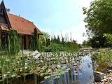 150 m2-es ház medencével, kerti tóval és erdővel
